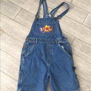 Cute women's Disney Pooh Bear overalls! Vintage! M